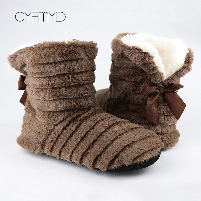 2020 Women's shoes Fur slippers for home Fashion Butterfly-knot Furry house shoes Bedroom slippers girls warm soft indoor