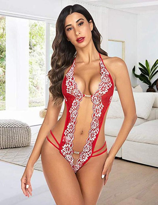 2020 Women Sexy Lingerie Hot Erotic Porn Lace One-Piece Backless Sex Babydoll Halter Porno Lenceria Open Bra Nighties Sleepwear