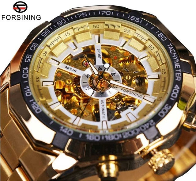 Winner Classic Transparent Full Golden Mens Watches Top Brand Luxury Men Sport Automatic Watch Skeleton Watch Clock Wrist Watch