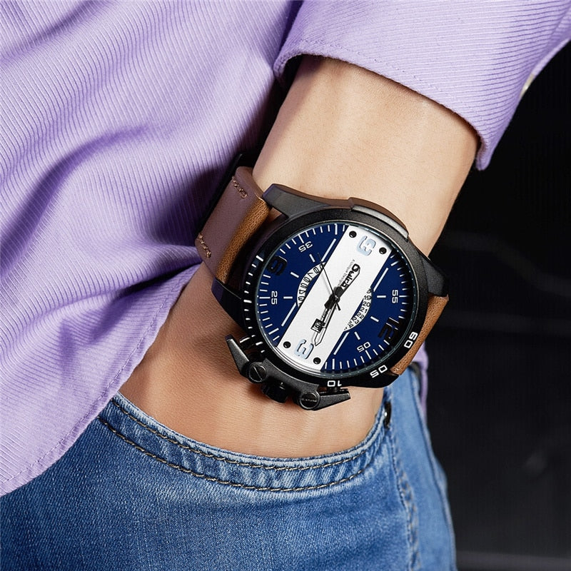 Oulm New Design Men's Watches Luxury Brand Casual Leather Wristwatch Big Size Sport Male Quartz Watch relogio masculino