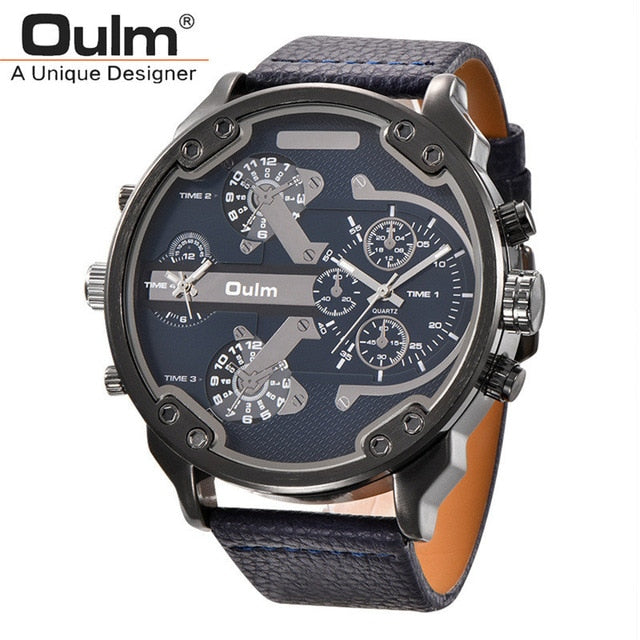 Oulm Brand Super Big Dial Men's Watches Dual Time Zone Watch Casual PU Leather Luxury Brand Men Quartz Wristwatch