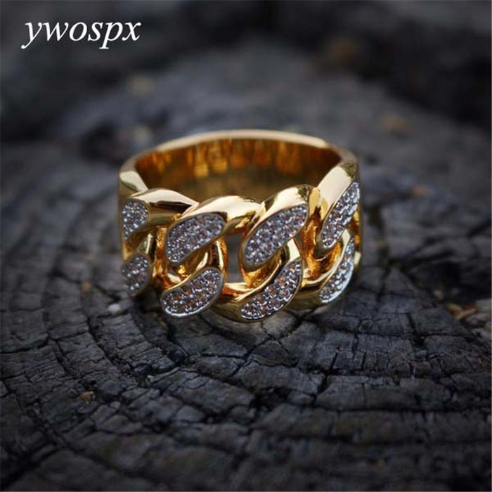 Luxury Zircon Cross Gold Color Rings for Men/Women Jewelry Wedding Anel Engagement Statement Ring Anillos Bijoux Gifts Y30