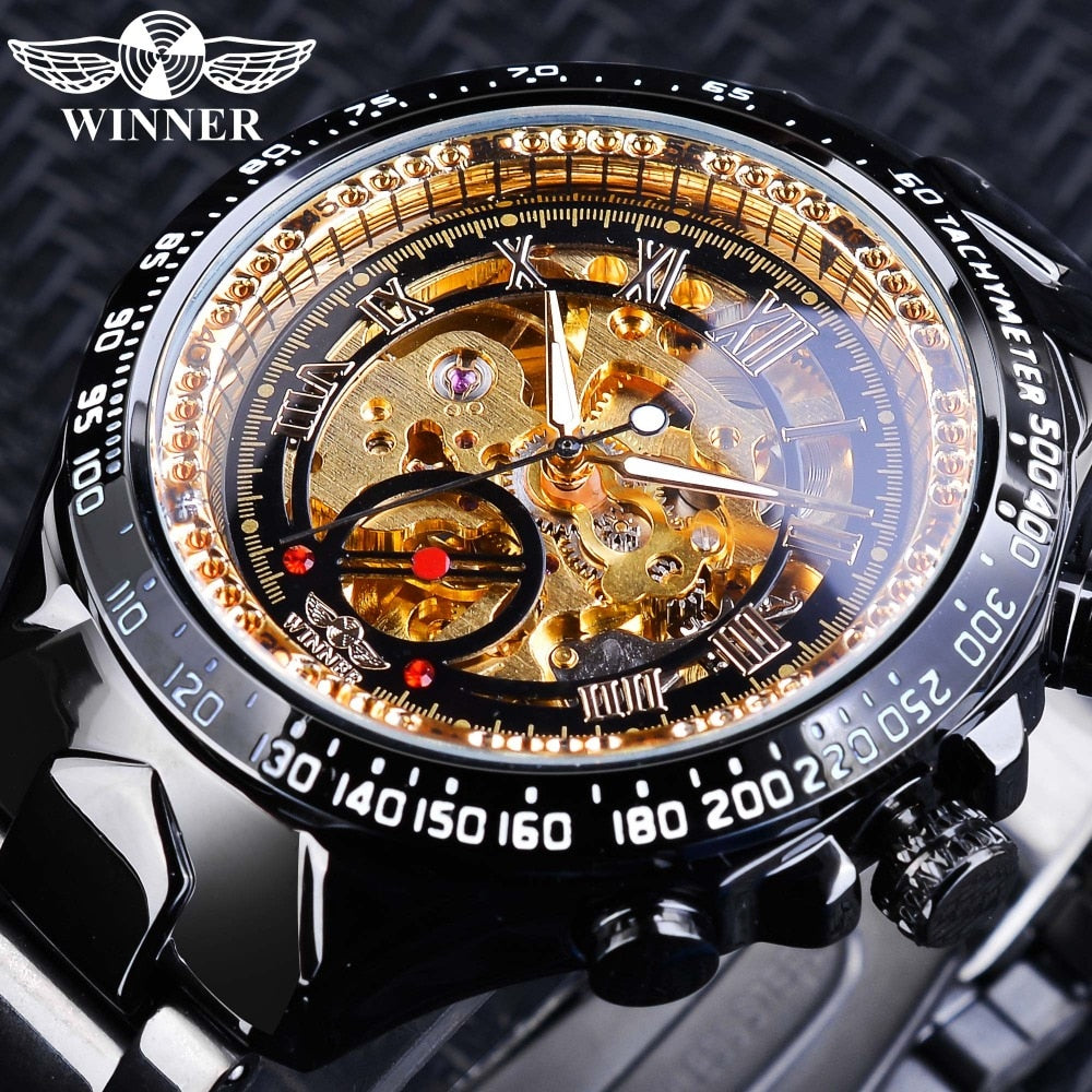 Black Golden Winner Skeleton Clock Male Fashion Black Stainless Steel Luminous Hands Men Automatic Watches Top Brand Luxury