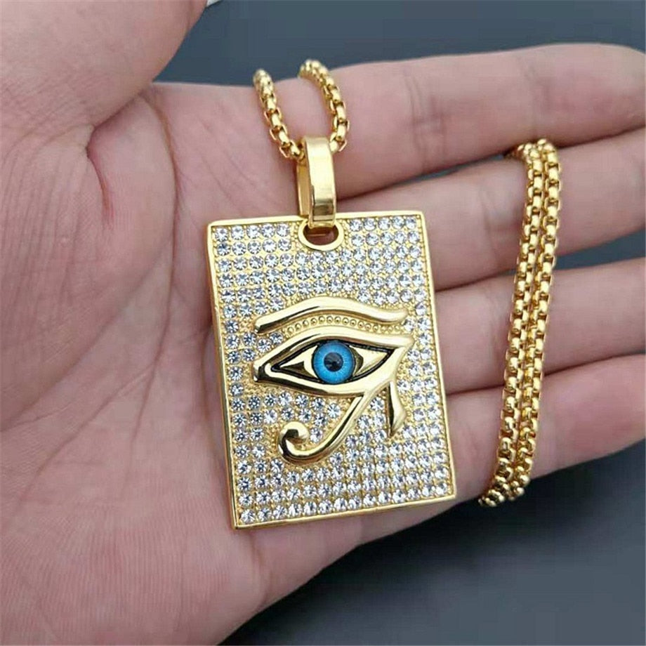 Ancient Egypt The Eye Of Horus Pendant Necklaces Gold Color Stainless Steel Square Necklaces Iced Out Bling Jewelry Dropshipping