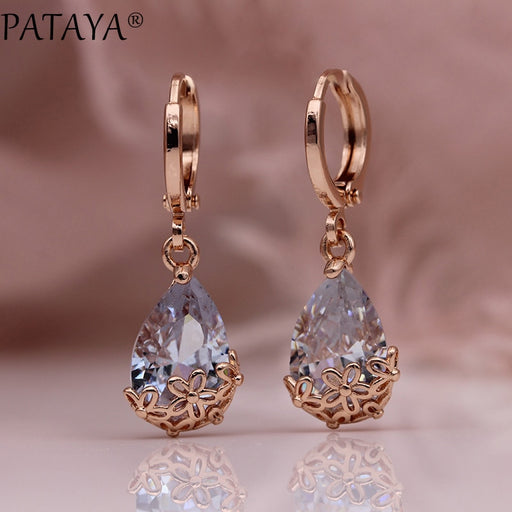 PATAYA New White Water Drop Long Earrings 585 Rose Gold Patterned Asymmetry Cute Dangle Earrings Women Wedding Fashion Jewelry