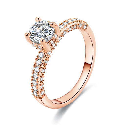 Yobest Rose Gold Color 2cts AAA Zircon Engagement Wedding Band Rings For Women Bridal Bijoux Dropshipping