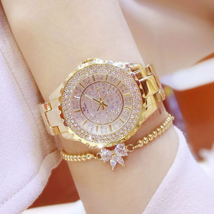 Luxury Brand Diamond Quartz Ladies Rose Gold Watch Stainless Steel Clock Dress Watch women relogio feminino