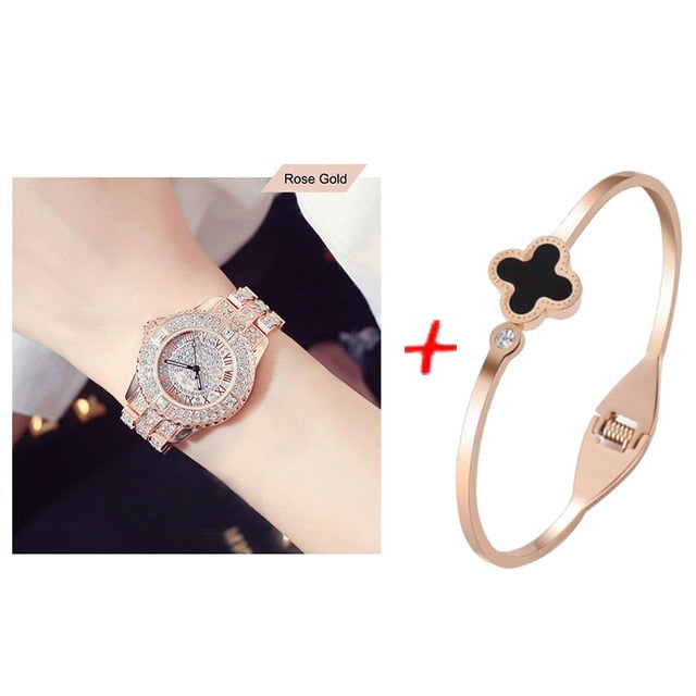 New Luxury Rhinestone Bracelet Watch Women Diamond Fashion Ladies Rose Gold Dress Watch Stainless Steel Crystal Wristwatch Clock