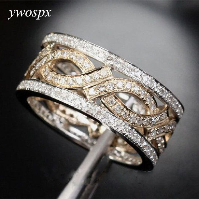 YWOSPX Luxury Gold S Color Zircon Hollow Rings for Women Wedding Engagement Ring Bijoux Anillos Gifts Y20