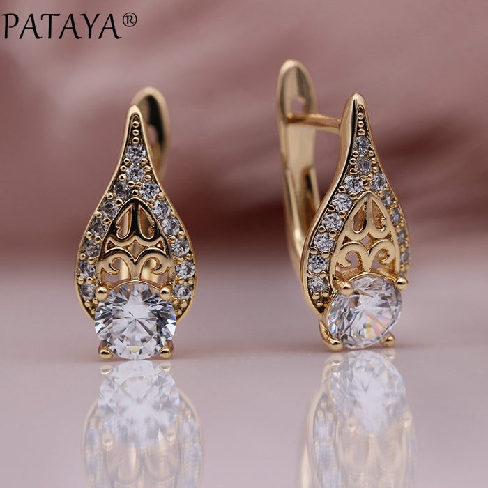 PATAYA New Flame Water Drop Hollow Earring 585 Rose Gold Round Natural Zircon Earrings Women Wedding Fine Cute Fashion Jewelry