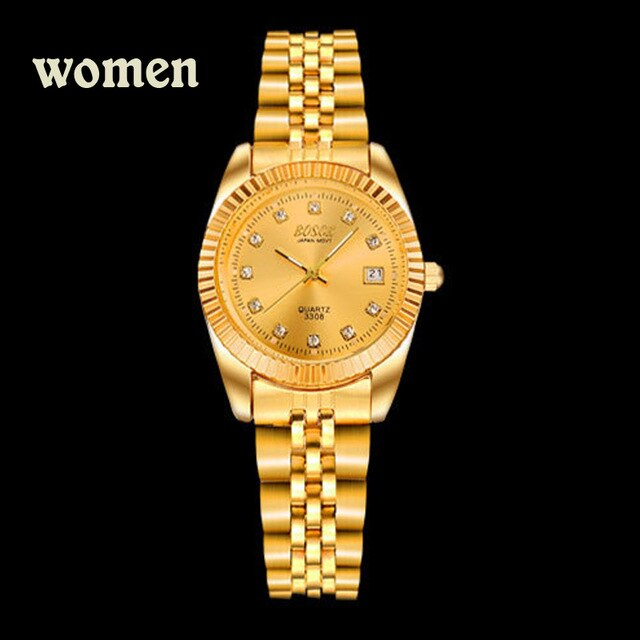 BOSCK Fashion Couples Wristwatches Mens Gold luxury brand Women Dress Watch Reloj Watch Men Relogios Masculinos