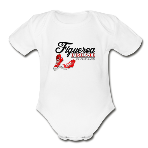 Organic Fresh Wear  Short Sleeve Baby Bodysuit - white