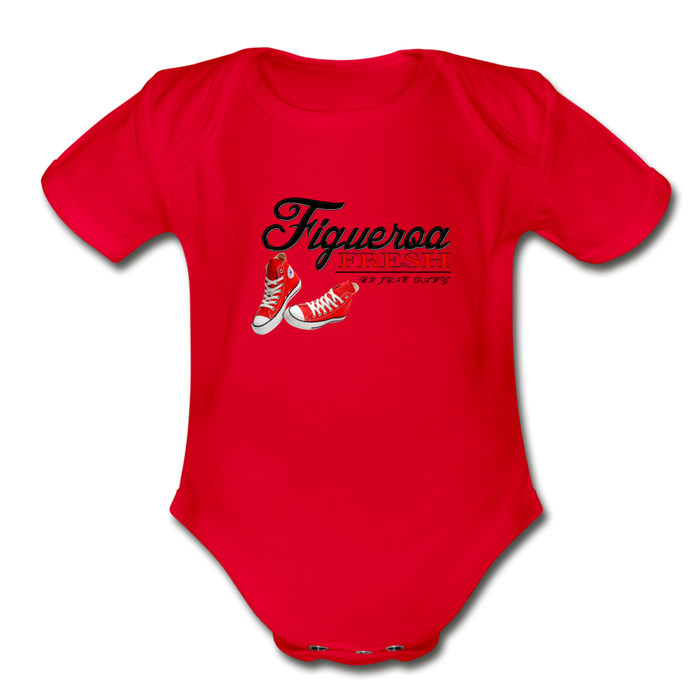 Organic Fresh Wear  Short Sleeve Baby Bodysuit - red