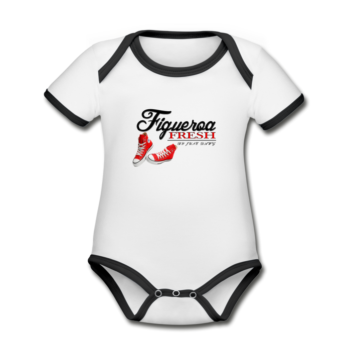 Organic fresh Wear Contrast Short Sleeve Baby Bodysuit - white/black