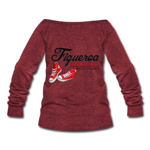 Women's Fresh Wear Wideneck Sweatshirt - cardinal triblend