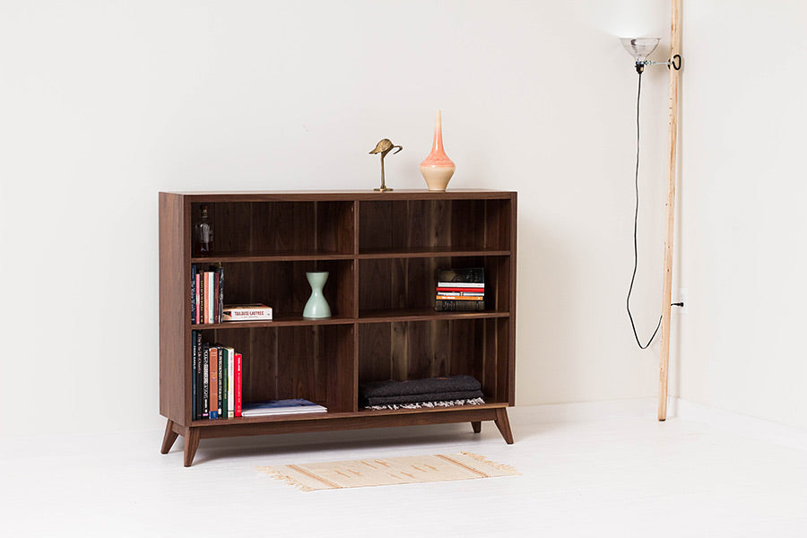 Classic Mid-Century Modern Book Shelf, Side Board, Handcrafted from Solid Black Walnut Wood by Wake the Tree Furniture Co.