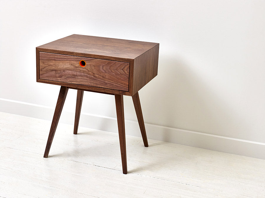 Classic Mid-Century Modern Solid Black Walnut Side Table, End Table, Nightstand by Wake the Tree Furniture Co.
