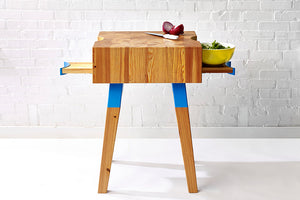 Mid-Century Modern Butcher Block Prep Station Handmade from Heart Pine End-Grain by Wake the Tree Furniture Co.