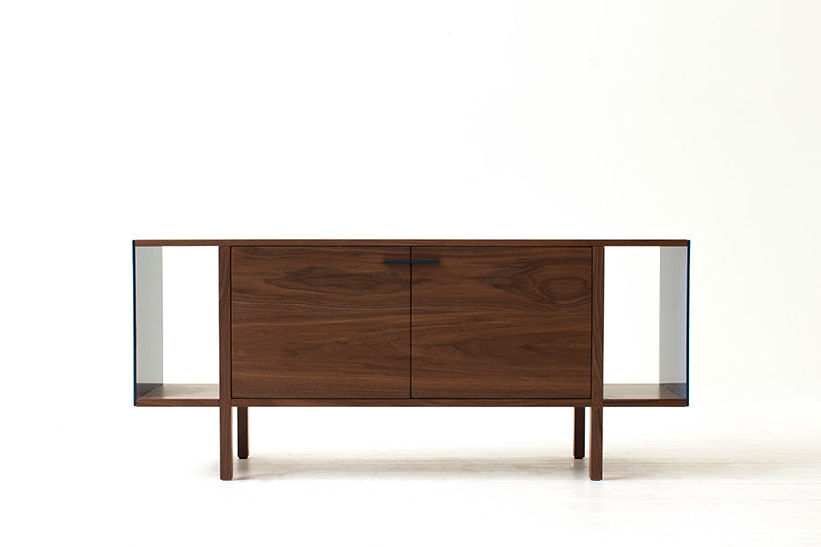 Mid-Century Modern Swing Door Credenza, Solid Wood Side Board, Minimalist Console | Wake the Tree Furniture Co.