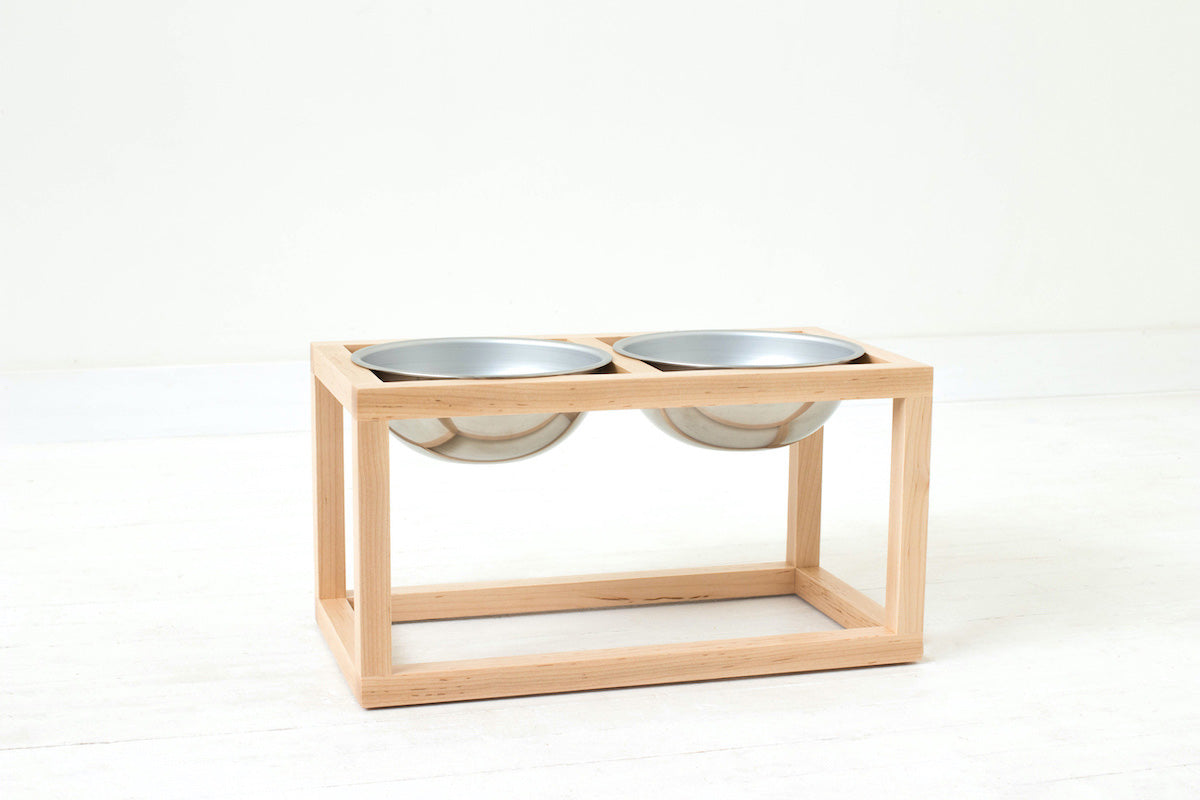 Minimalist Modern Single, Double, Triple Elevated Dog Feeder Handmade of Solid Wood by Wake the Tree Furniture Co.