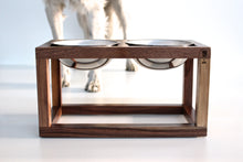 Load image into Gallery viewer, Minimalist Modern Single, Double, Triple Elevated Dog Feeder Handmade of Solid Wood by Wake the Tree Furniture Co.
