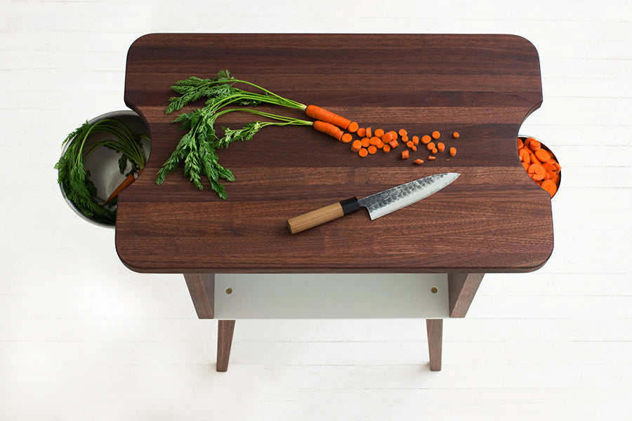 Minimalist Mid-Century Modern Kitchen Work Station, Small Kitchen Island, Butcher Block Prep Stand, Handmade from Solid Wood and Metal | Wake the Tree Furniture Co.