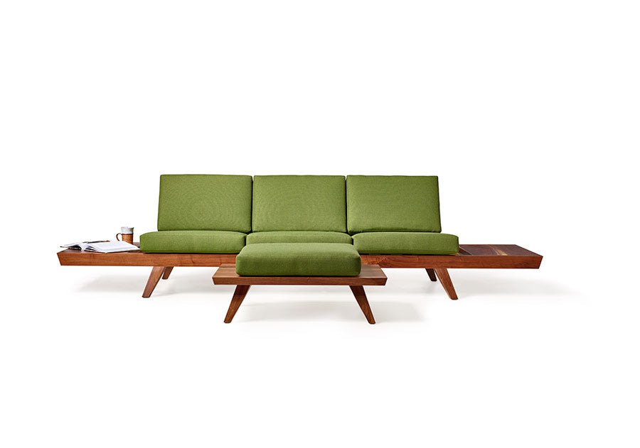 Mid-Century Modern Sofa with Side Tables, Ottoman + Custom Upholstery by Wake the Tree Furniture Co.