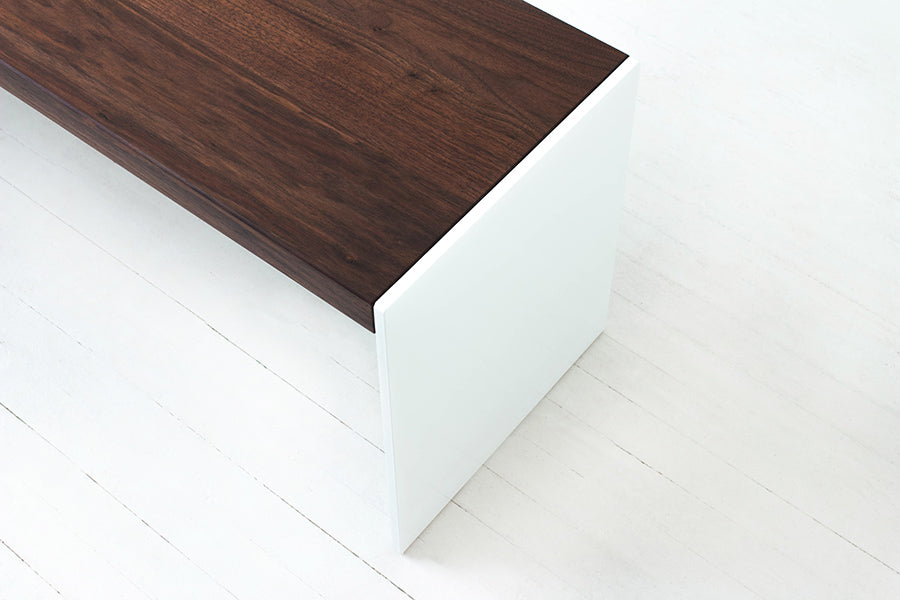 Minimalist Modern Bench Handmade of Solid Wood and Steel by Wake the Tree Furniture Co.