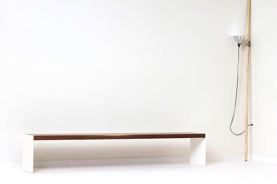 Large Minimal Modern Bench, Handcrafted from Solid Walnut and Powder Coated Steel by Wake the Tree Furniture Co.