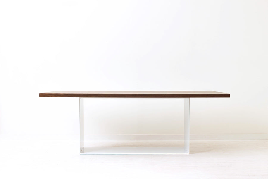 Minimalist Modern Dining Table Handmade of Solid Wood and Steel by Wake the Tree Furniture Co.