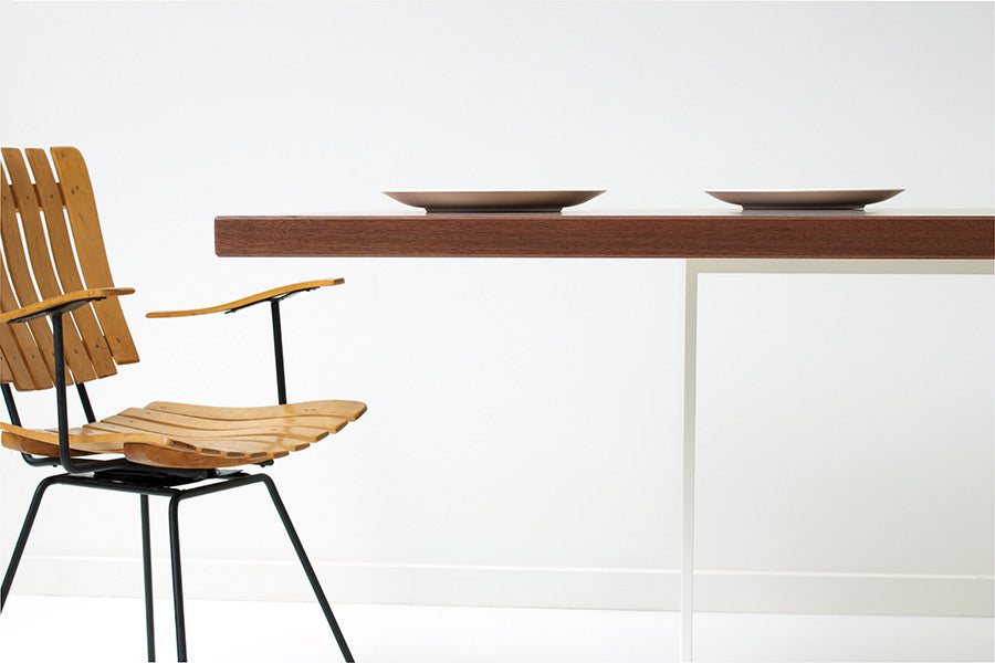 Large Minimalist Modern Rectangular Dining Table Handmade of Solid Black Walnut and Powder Coated Steel Open Base by Wake the Tree Furniture Co.
