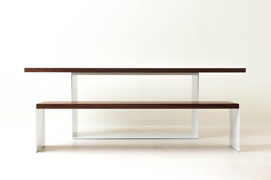 Minimalist Modern Dining Table and Bench Handmade of Solid Wood and Steel by Wake the Tree Furniture Co.