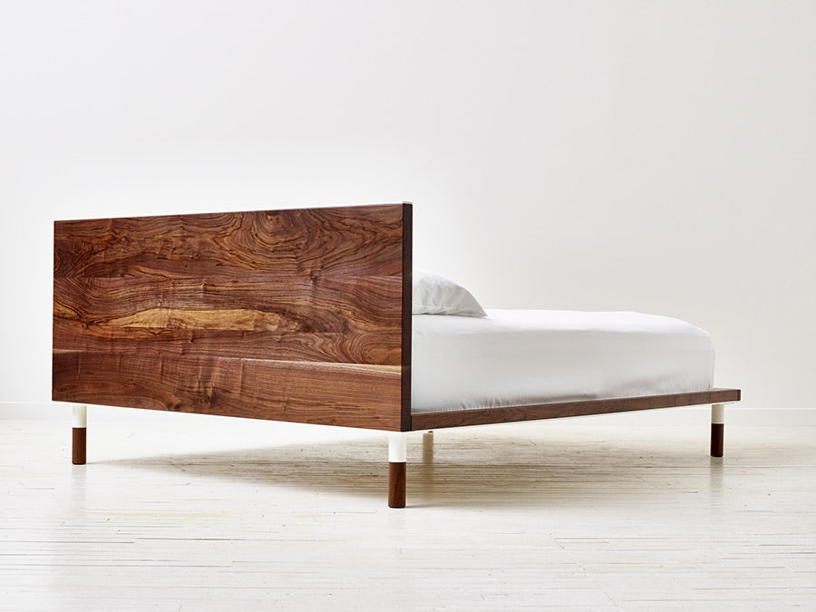 Minimalist Modern Platform Bed Handmade from Black Walnut and Powder Coated Steel by Wake the Tree Furniture Co.