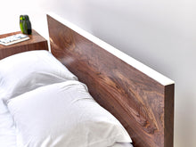 Load image into Gallery viewer, Minimalist Modern Platform Bed Handmade from Black Walnut and Powder Coated Steel by Wake the Tree Furniture Co.