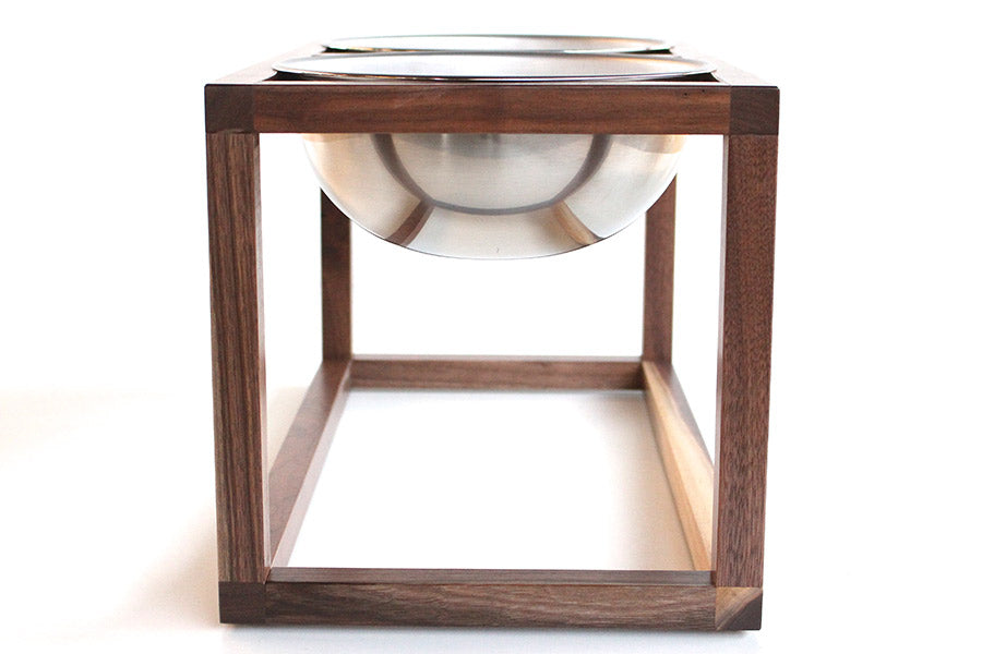 Minimalist Modern Open Cube Single, Double, Triple Elevated Dog Feeder Handmade of Solid Wood by Wake the Tree Furniture Co.