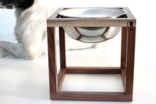 Load image into Gallery viewer, Minimalist Modern Open Cube Single, Double, Triple Elevated Dog Feeder Handmade of Solid Wood by Wake the Tree Furniture Co.