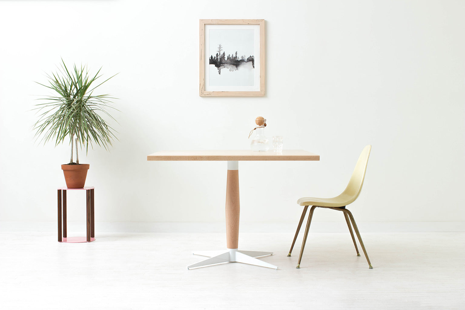 Mid-Century Danish Modern Nook Pedestal Dining Table. Handmade from Solid Wood and Powder Coated / Painted, Chrome, Copper or Brass Plated Steel by Wake the Tree Furniture Co.