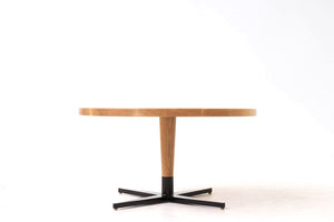 Mid-Century Danish Modern Bistro, Coffee or Cocktail Pedestal Table. Handmade from Solid Wood and Powder Coated / Painted, Chrome, Copper or Brass Plated Steel by Wake the Tree Furniture Co.