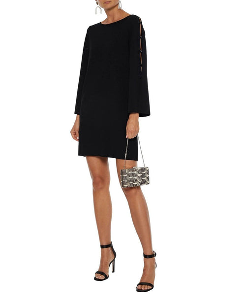 Milly Button-Embellished Cutout Stretch-Crepe Mini Dress