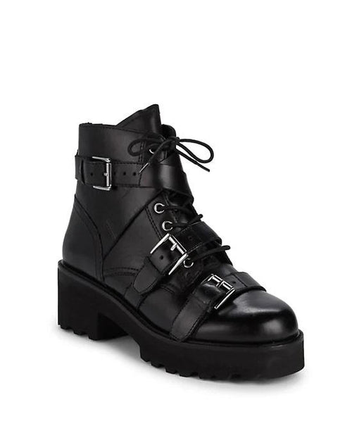 Ash Razor Multi-Buckle Leather Combat Boots