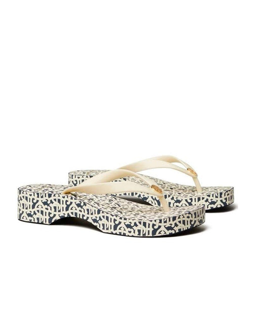Tory Burch Printed Carved Wedge Flip-Flops
