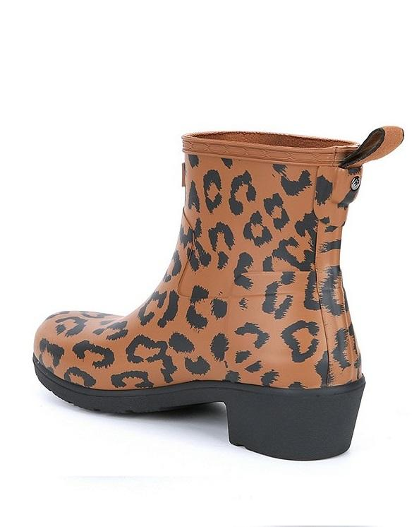 Hunter Refined Leopard Biker Rain Boot