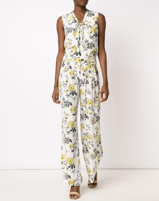 CAROLINA HERRERA rose print wide leg trousers