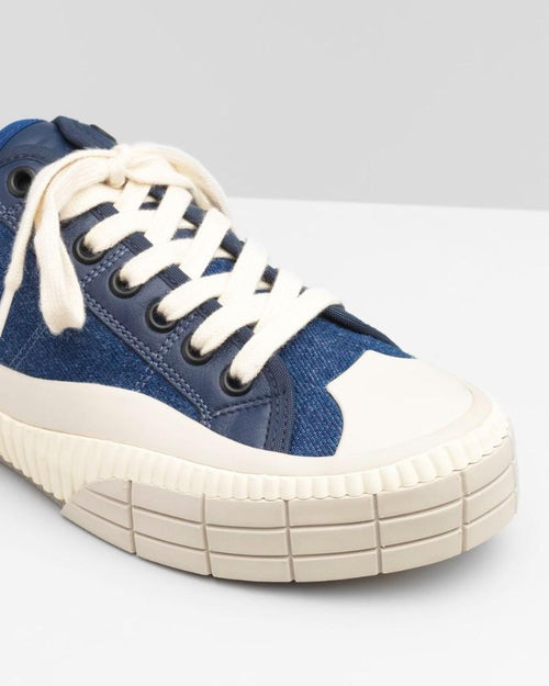 Chloe Clint Low-Top Sneaker In Cotton Denim & Calfskin