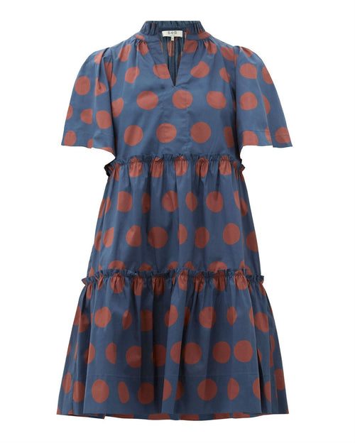 Sea Penny spot-print tiered cotton-blend dress