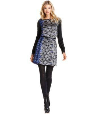 DKNK DRESS LONG-SLEEVE BELTED PRIN-DKNY-Fashionbarn shop