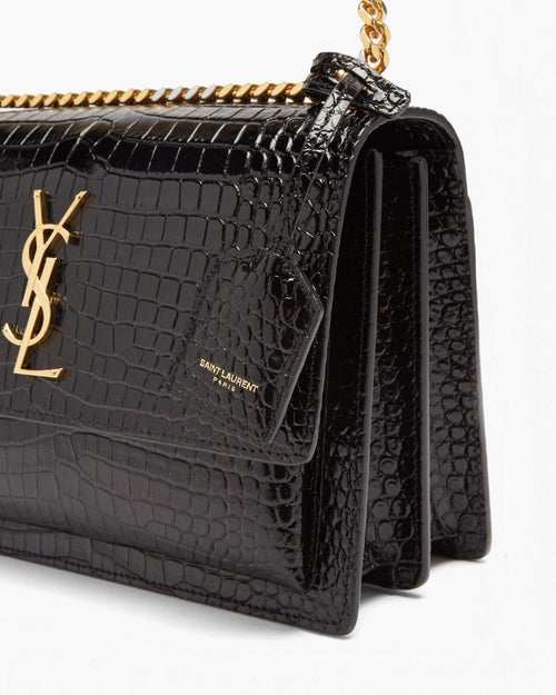 Saint Laurent Sunset Crocodile-Embossed Leather Bag