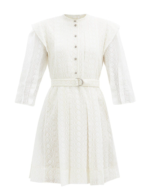 Chloe Logo-Embroidered Silk-Voile Mini Dress
