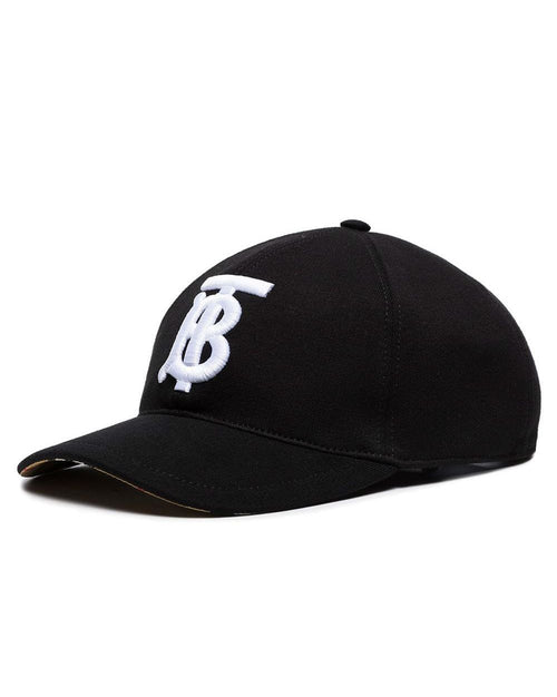 Burberry Black And White TB Logo Embroidered Cotton Baseball Cap