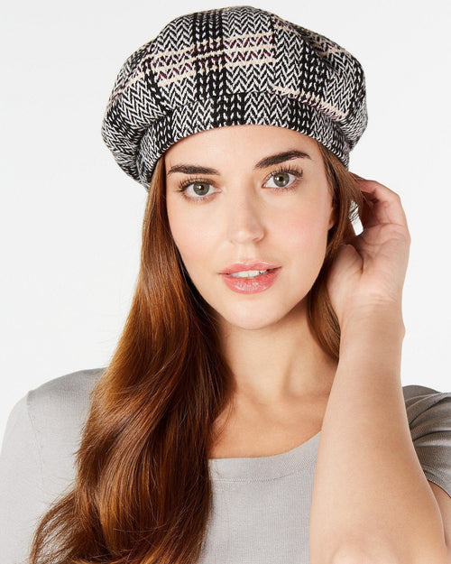 INC International Concepts Herringbone-Plaid Beret Hat